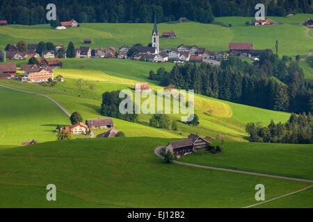 Ansicht, Hundwiler Höhe, Hundwil Höhe, Schweiz, Europa, Kanton Appenzell Ausserrhoden, Hundwil, Dorf, Häuser, Wohnungen, - Stockfoto