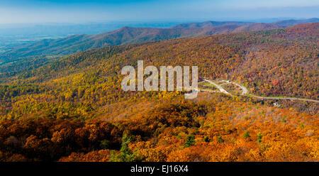 Herbst-Blick auf den Blue Ridge Mountains von Marias Rock, auf dem Appalachian Trail im Shenandoah-Nationalpark, - Stockfoto