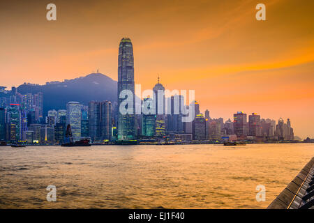 Hong Kong, China Stadtbild am Victoria Harbour. - Stockfoto
