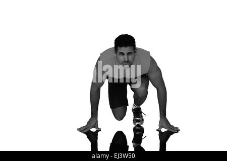 Zusammengesetztes Bild Porträt eines jungen sportlichen Mannes im laufenden Haltung - Stockfoto