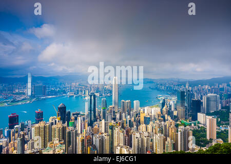 Hong Kong, China Stadtbild von Victoria Peak. - Stockfoto