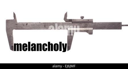 """Farbe der horizontalen Schuss von einem Bremssattel messen das Wort """"Melancholie"""". - Stockfoto"""
