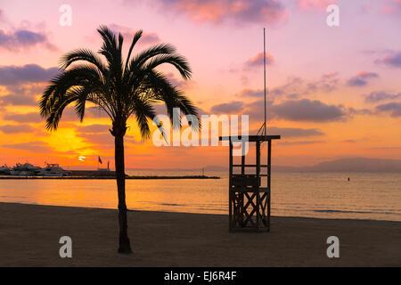 Mallorca El Arenal sArenal Strand Sonnenuntergang in der Nähe von Palma De Mallorca Balearen Spanien - Stockfoto