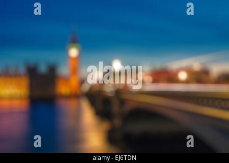Bokeh von Big Ben und Westminster Bridge, London - Stockfoto