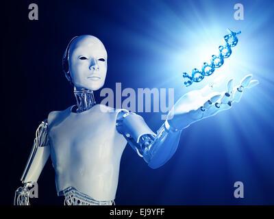 Eine futuristische Android streckte eine Hand mit einem DNA-Strang - Stockfoto