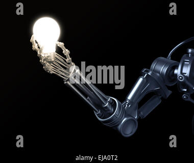 Eine futuristische Roboter hält eine Glühbirne - Stockfoto