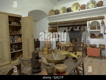 Alte Küche In Einem Primitiven Rustikalen Stil Reproduktion, Badajoz,  Spanien   Stockfoto