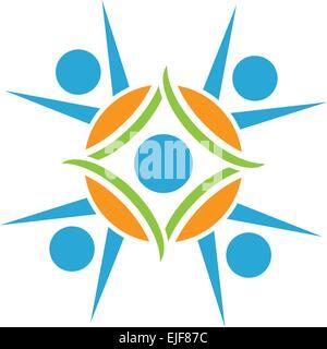 Teamwork, Kooperation und Menschen. Menschen mit Symbolen verbunden. - Stockfoto