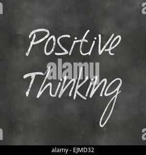 Eine bunte 3d gerendert Concept Illustration zeigt positives Denken auf eine Tafel geschrieben - Stockfoto