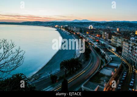 Sonnenuntergang über Nizza - Stockfoto