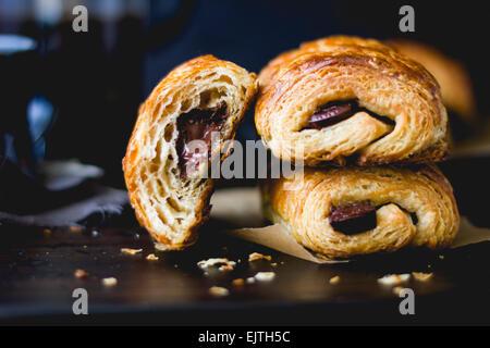 Schokoladencroissants pain au Chocolat Kuchen - Stockfoto