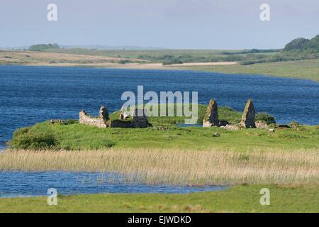 Finlaggan alte Ruinen, wo Herr der Inseln Sitz hatte - Stockfoto