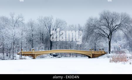Verträumte Winterbild mit der Bogenbrücke vom Central Park, New York in der Morgendämmerung, nach einem Schneesturm - Stockfoto