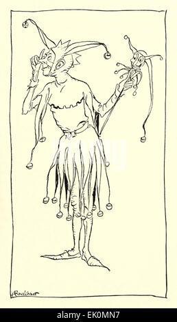 """Der Narr - Abbildung von Arthur Rackham (1867-1939) aus 'Die Romanze von König Artus und seine Ritter der Tafelrunde"""". - Stockfoto"""