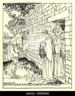 """""""So war das Kind zu Merlin von""""The Romance of King Arthur und seine Ritter der Tafelrunde"""", Illustration von Arthur - Stockfoto"""