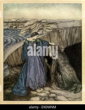 """""""Merlin und Nimue"""" von """"The Romance of King Arthur und seine Ritter der Tafelrunde"""", Illustration von Arthur Rackham - Stockfoto"""