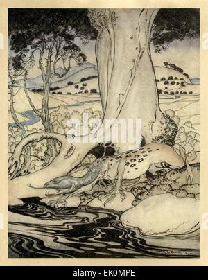 """""""Die Questing Biest."""" von """"The Romance of King Arthur und seine Ritter der Tafelrunde"""", Illustration von Arthur - Stockfoto"""