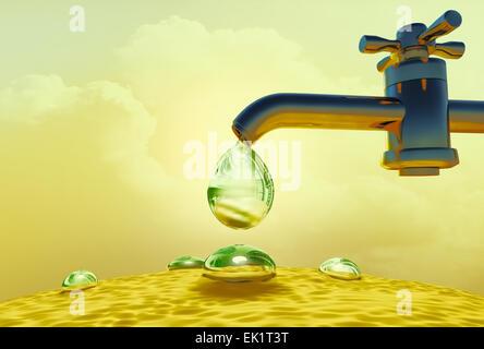 Wassertropfen aus Wasserversorgung Wasserhahn tropft. - Stockfoto