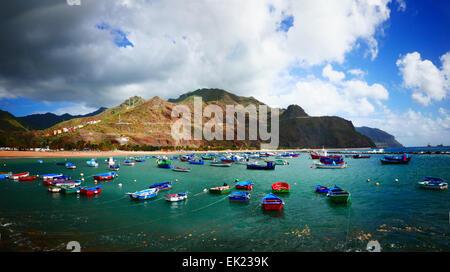 San Juan Angelboote/Fischerboote Hafen Tierheim Westküste Teneriffa Insel Kanaren Spanien - Stockfoto
