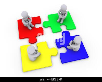 Lösung mit vier verschiedenen Puzzle-Teile - Stockfoto