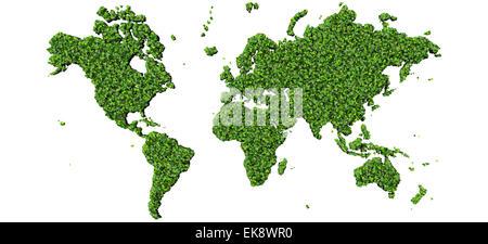 Erde, Weltkarte, hergestellt aus grünen Blättern auf Hintergrund isoliert. 3D Render.