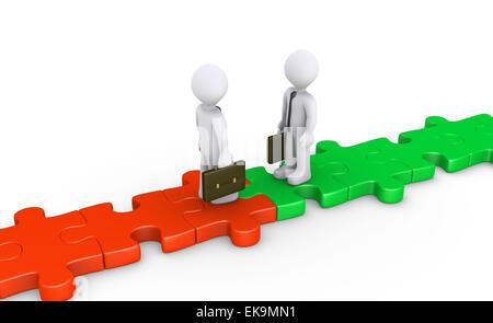Zwei Geschäftsleute treffen sich am Puzzle Weg - Stockfoto