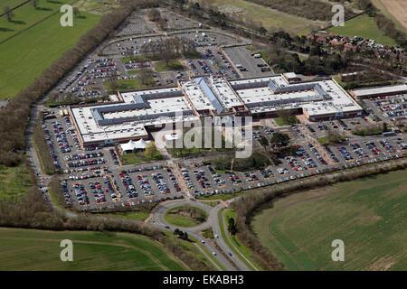 Luftaufnahme von York Designer Outlet (McArthur Glen) in der Nähe von York, UK - Stockfoto