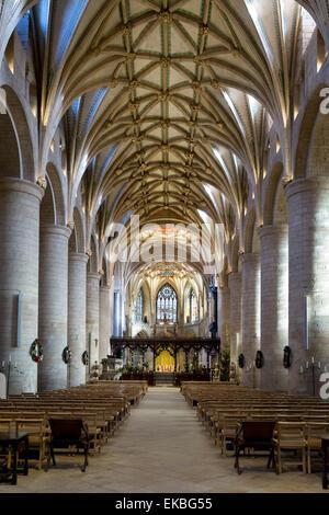 Kirchenschiff von Tewkesbury Abbey (Abbey Church of St. Mary the Virgin), Tewkesbury, Gloucestershire, England, - Stockfoto