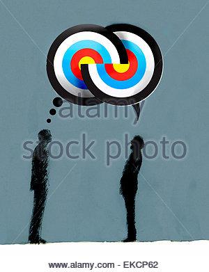 Geschäftsleute, vereinbaren Ziele in überlappenden Gedanken und Sprechblasen - Stockfoto