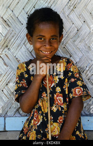 Lächelnd Dorf Mädchen. Fidschi. South Pacific - Stockfoto