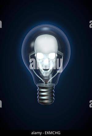 3D Rendern von leuchtenden Totenkopf in Glühbirne - Stockfoto