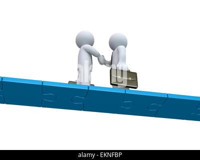 Zwei Geschäftsleute machen einen deal auf einer Puzzle-Brücke - Stockfoto