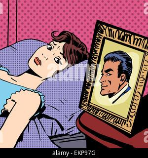 Frau im Bett Foto Männer Frau Mann Pop-Art Comic retro-Stil H
