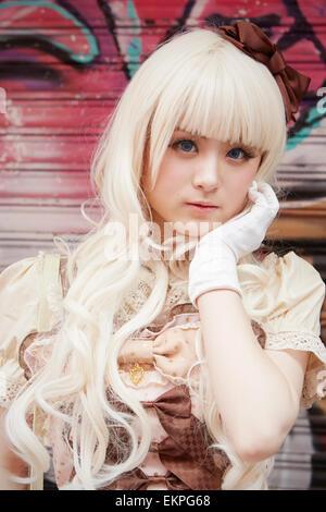 Porträt von Cosplay Mädchen, Takeshita St, Harajuku, Tokyo, Japan - Stockfoto