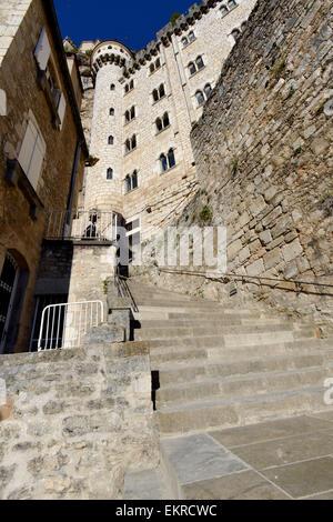 Steile Treppen Wallfahrt Website Rocamadour, Departement Lot, Midi-Pyrenäen, Südwest-Frankreich, Frankreich, Europa - Stockfoto