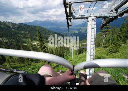 Reiten Sie einen Skilift im Sommer; British Columbia, Kanada - Stockfoto