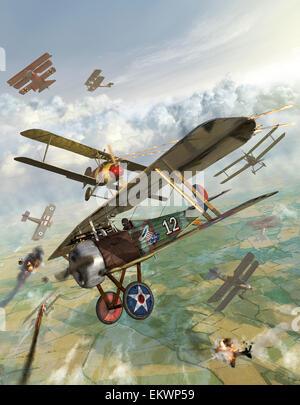 Ersten Weltkrieg US-Bi-Flugzeug Angriff auf deutsche Bi-Flugzeuge. - Stockfoto