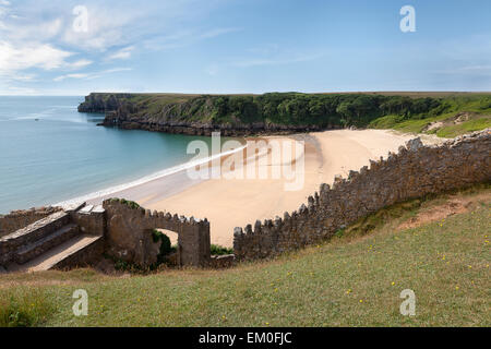 Barafundle Bay, einsamen Strand entlang der Pembrokeshire Coast National Park - Stockfoto