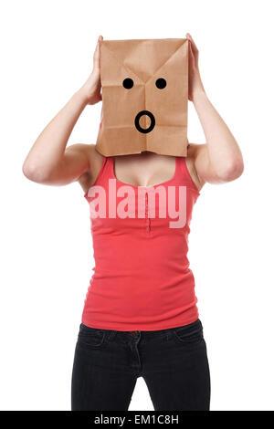 schockiert Papier Tasche Mädchen - Stockfoto