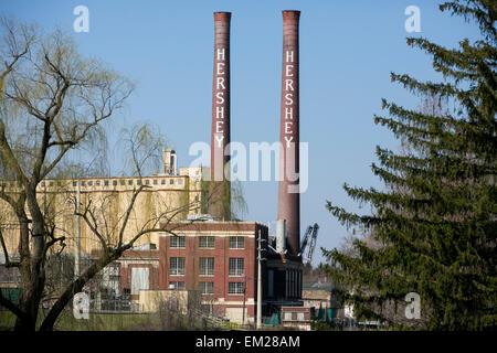 Ein Blick auf die ursprüngliche Hershey Schokoladenfabrik in Hershey, Pennsylvania. - Stockfoto