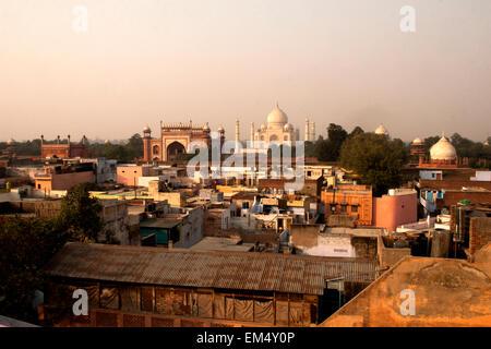 Dach-Draufsicht des Taj Mahal - Stockfoto