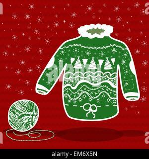 Grün gestrickt Weihnachten Pullover und einem Knäuel auf rotem Grund - Stockfoto