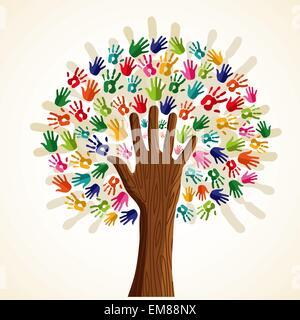 Bunte multiethnische Baum - Stockfoto