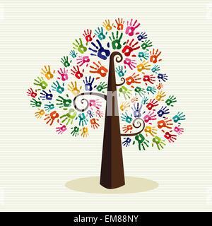 Bunte Solidarität Hand druckt Baum - Stockfoto