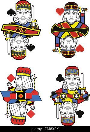 Vier Könige ohne Karten. Original-design - Stockfoto