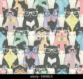Nahtlose Muster mit Hipster niedlichen Katzen für Kinder - Stockfoto