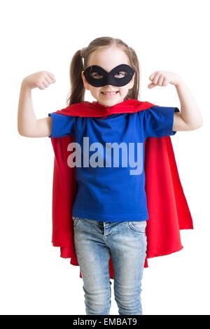 Kind Mädchen spielt Superheld - Stockfoto