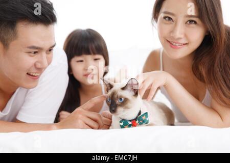 Das Glück einer Familie von drei mit einem Haustier Katze in das Bett des Schlafzimmers - Stockfoto