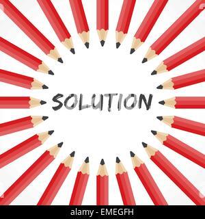 Lösungswort mit Bleistift Hintergrund Lager Vektor - Stockfoto