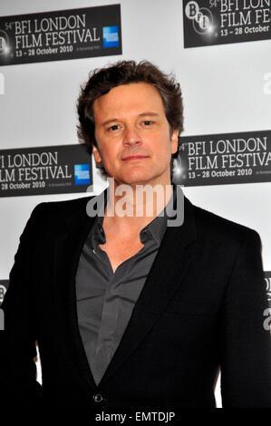 21.OCTOBER.2010. COLIN FIRTH LONDON BESUCHT DIE KINGS SPEACH PHOTOCALL FÜR DAS LONDON FILMFESTIVAL. - Stockfoto